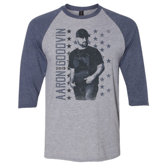 Aaron Goodvin Heather Grey and Navy Raglan