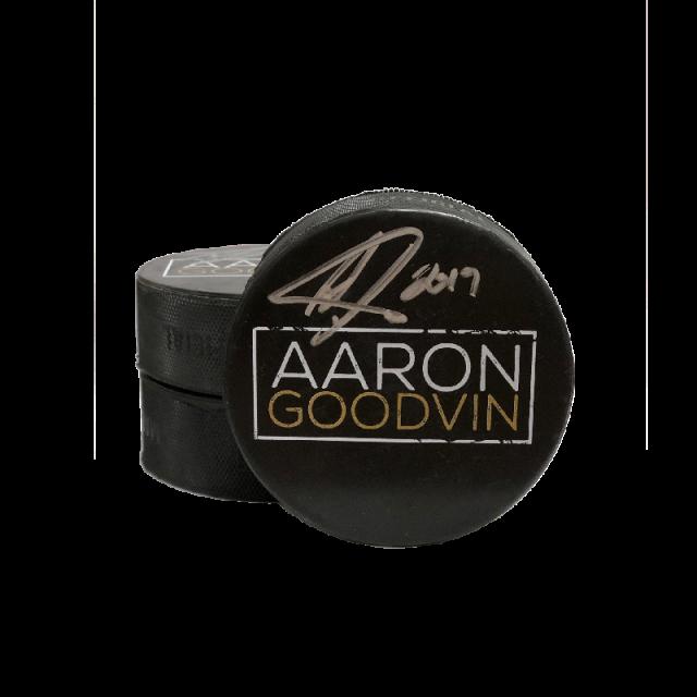 Aaron Goodvin AUTOGRAPHED Hockey Puck- AG Logo