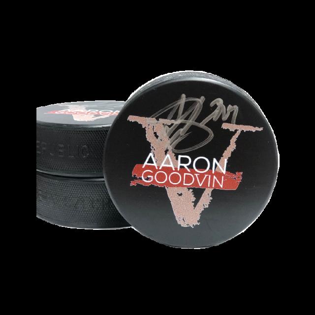Aaron Goodvin AUTOGRAPHED Hockey Puck- V Album Logo